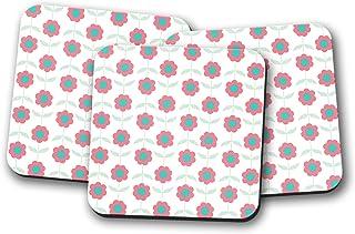 Posavasos blanco con diseño floral rosa, posavasos individuales o juego de 4