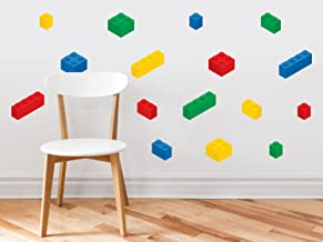 Building Block Bricks Fabric Wall Decals, Set of 16 Blocks in 4 Colors - Removable, Reusable, Respositionable
