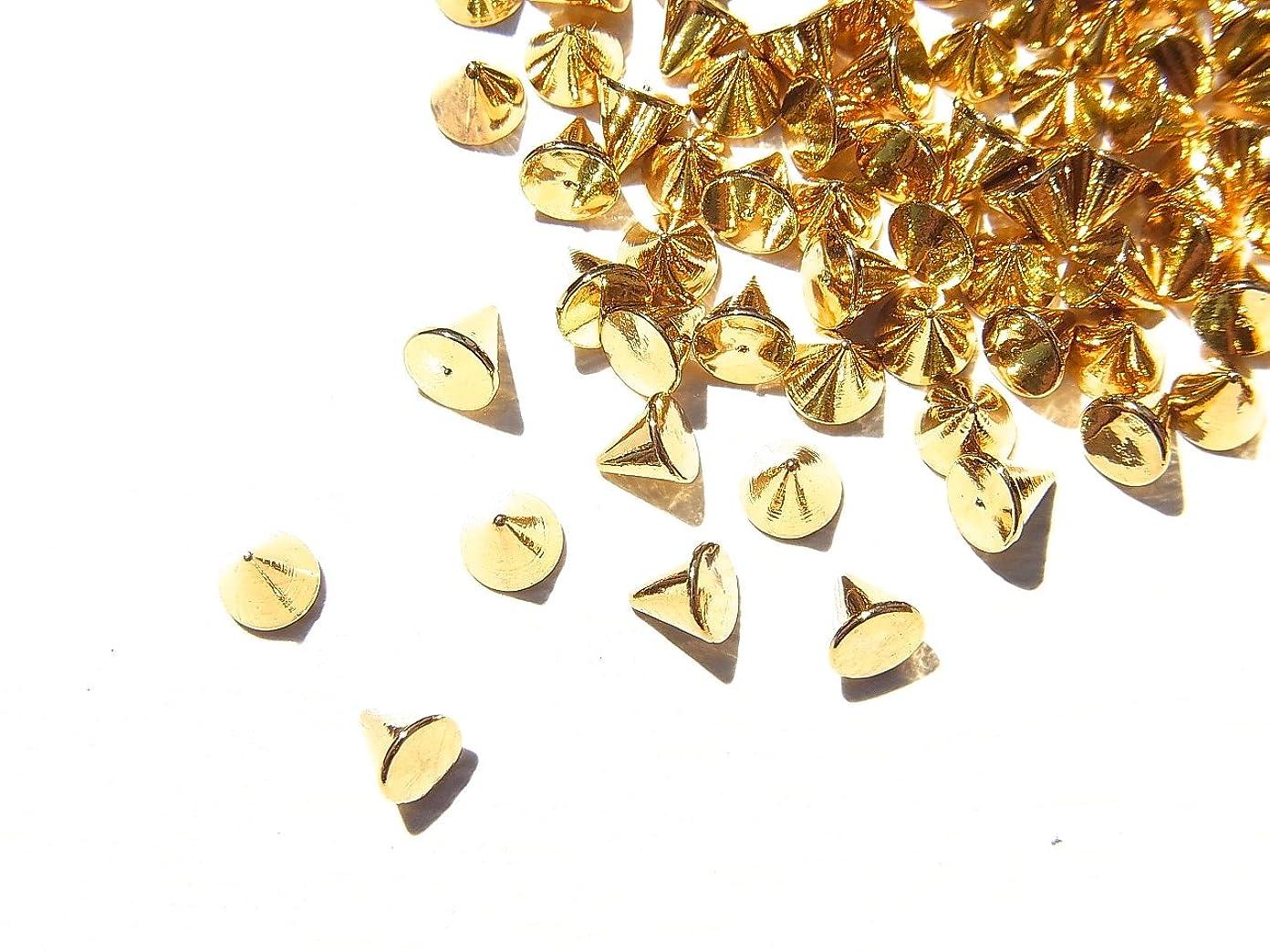 洞察力のある閉塞不適切な【jewel】ゴールド メタルパーツ リベット (トゲトゲ) Lサイズ 10個入り 3mm×3mm 手芸 材料 レジン ネイルアート パーツ 素材