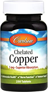 Carlson - Chelated Copper, 5 mg - Superior Absorption, Cardiovascular Health, Nerve Function & Immune Support, 250 Tablets