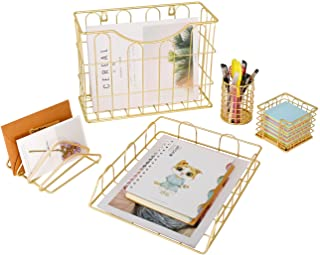 Superbpag Office 5 in 1 Desk Organizer Set Gold- Letter Sorter, Pencil Holder, Stick Note Holder, Hanging File Organizer a...