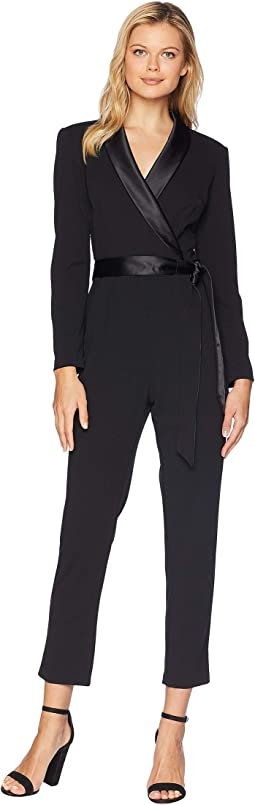 Knit Crepe Wrap Top Jumpsuit with Long Sleeves, Slim Pants, and Stretch Charmeuse Collar