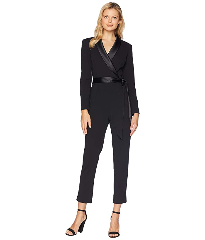 Adrianna Papell  Knit Crepe Wrap Top Jumpsuit with Long Sleeves, Slim Pants, and Stretch Charmeuse Collar (Black) Womens Jumpsuit and Rompers One Piece