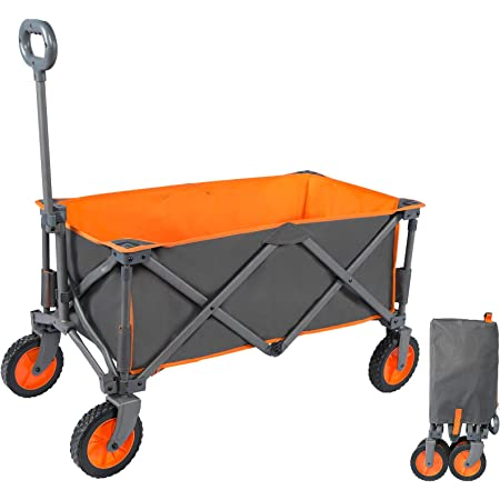 PORTAL Chariot de Plage Pliable Charrette de Transport à Main Remorque Pliante de Jardin Camping Extérieur Tout Terrain Multifonction, Orange