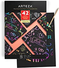 ARTEZA Scratch Paper Set of 42, 10.9X8.2 Inch Sheets, Art Set Include: 4 Unique Patterns, 4 Scratchers, 4 Stencils, 4 Post...