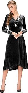 Le Vonfort Women's Velvet Long Sleeve Pleated A Line Midi Dress