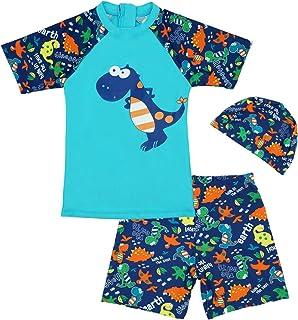 مجموعة ملابس السباحة راش جارد المكونة من قطعتين للأولاد بأكمام قصيرة