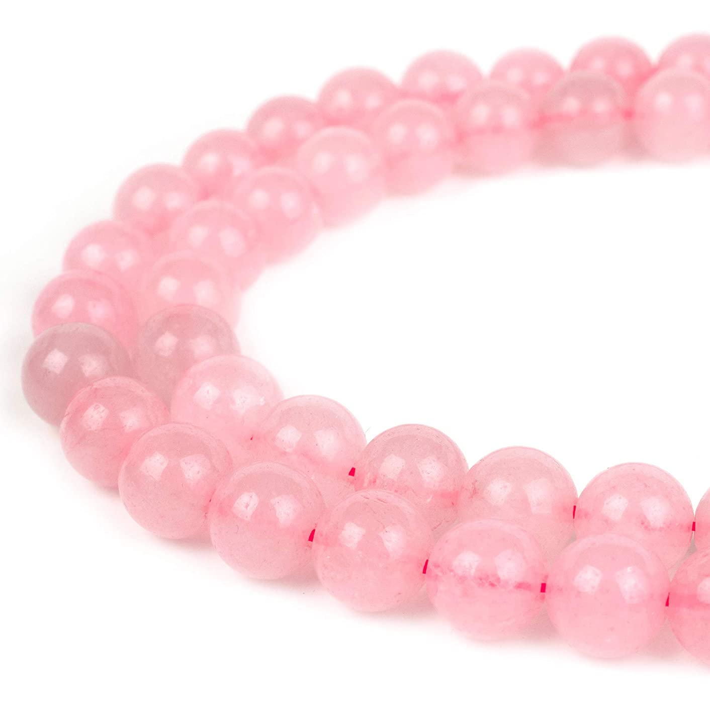 RVG 12mm Natural Rose Quartz Beads Round Gemstone Loose Stone Mala 15.5 in Strand for Jewelry Making (Approx 30-32 pcs)