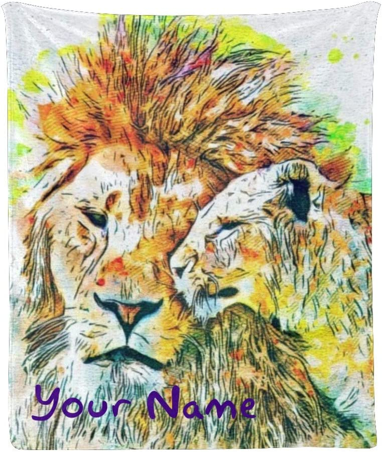 Custom Denver Mall Blanket with Name Text Animal 4 years warranty Personalized Lio Watercolor