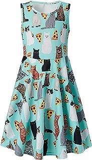 RAISEVERN Girls Printed Dress,Kids Cute Unicorn and Mermaid Designed Summer Sleeveless Sundress for Little Girls 4-13 Years