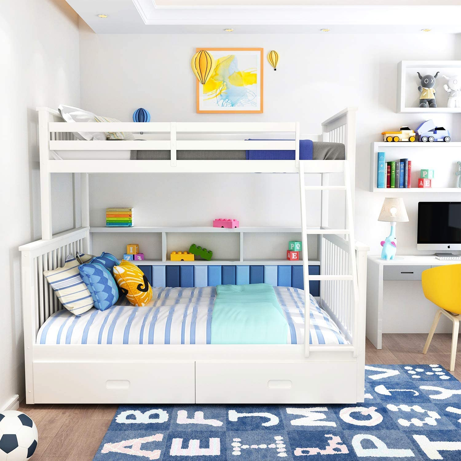 Recaceik Full Bunk Beds Bed with Two and Storage 年間定番 D Ladders 公式サイト