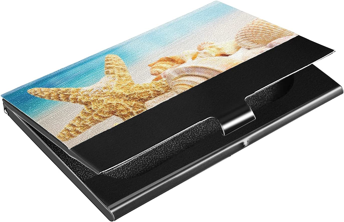 OTVEE Starfish and Shells Beach Business Card Holder Wallet Stainless Steel & Leather Pocket Business Card Case Organizer Slim Name Card ID Card Holders Credit Card Wallet Carrier Purse for Women Men