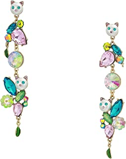 Colorful Stone and Cat Cluster Linear Earrings