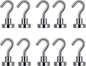 LifeKrafts Heavy Duty Magnetic Hooks for Multi-Function Indoor/Outdoor, Garage Tolls,Office,School Lockers,Fridge & Any Metal Surface.Pack 10