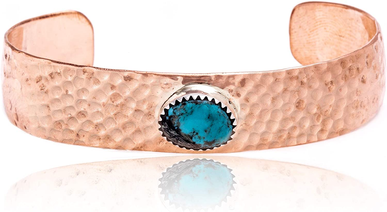 $240Tag Turquoise Hammered Copper Certified Navajo Native Cuff Bracelet 24494-6 Made by Loma Siiva