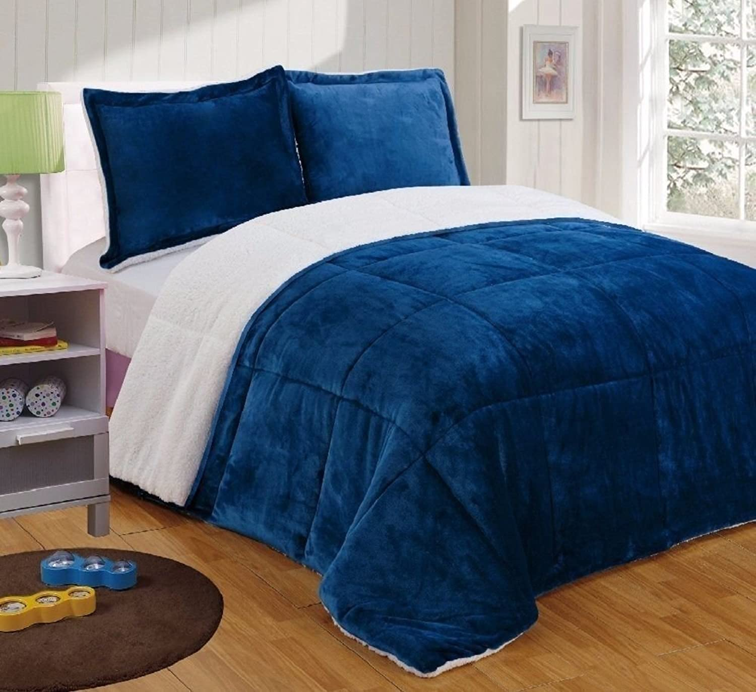 Chezmoi Collection FS200 3-Piece Micromink Sherpa Reversible Down Alternative Comforter Set (King, Navy)