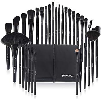 Makeup Brushes 32pcs, Yuwaku Professional Makeup Brush Set, Kabuki Face Eyes Shadow Eyeliner Foundation Blush Lip Powder Liquid Cream Blending Brushes (BLACK)