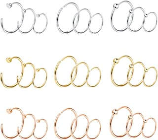 Milacolato 27pcs 20G 316L Stainless Steel C-Shape Nose Ring Hoop for Men Women Flat Disc Thin Nose Ring Cartilage Tragus Ear Piercing Set
