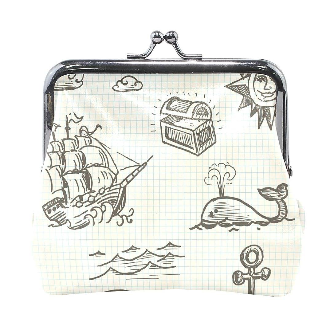 ギャップ予測子八がま口 財布 口金 小銭入れ ポーチ 海 船 宝物 クジラ ANNSIN バッグ かわいい 高級レザー レディース プレゼント ほど良いサイズ