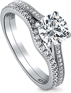 BERRICLE Rhodium Plated Sterling Silver Round Cubic Zirconia CZ Solitaire Engagement Wedding Ring Set 1.32 CTW