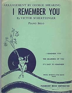 I REMEMBER YOU Piano Solo