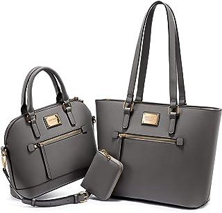 LOVEVOOK Femmes Sac 3 Pièces Hobo Bag pour Femmes Grands Sacs Shopper Sac À Bandoulière PU Sac En Cuir PU Adolescente Desi...