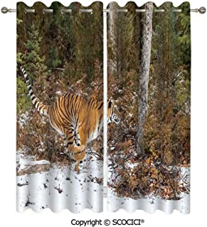 UHOO Durable Custom Pattern Blackout Grommet Window Curtains Bengal Tiger in Snowy Jungle Hunting and Cruising for Prey Furry Majestic Mammal for Bedroom Living Room (W54 xL84/Panel)