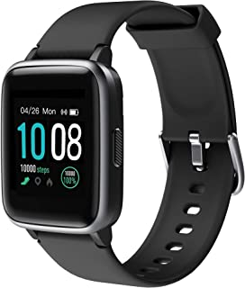 Smart Watch, GRDE Fitness Tracker Watch, Bluetooth 5.0 Activity Tracker Full Touch Screen Smartwatch 5ATM Waterproof for Man / Woman with Heart Rate, Sleep Monitor, Step & Calorie Counter, SMS Call Notification Compatible with iPhone Sumsung - Black