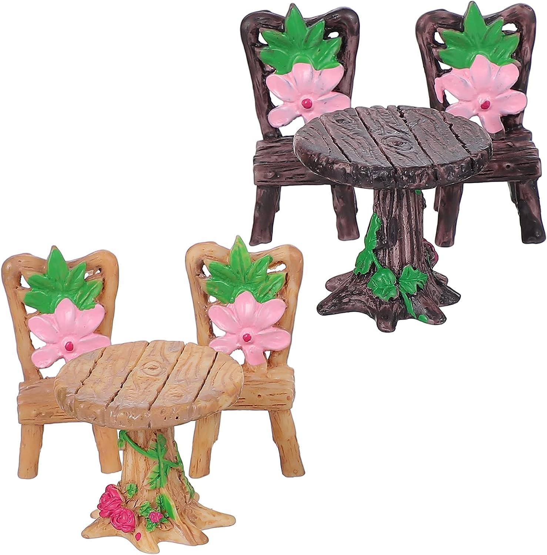 DOITOOL 2 Sets Fairy Garden Table Ornaments Miniature Albuquerque Mall Sales Furniture