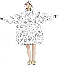 Deken Hoodie, Casual Zachte Microfiber Housecoat, Warm Nachthemd voor Mannen Vrouwen met Hand Getrokken Fast Food Designs