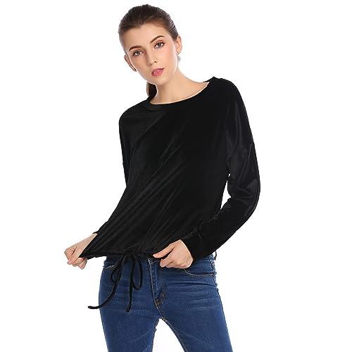 bb810256799dd7 Zeagoo Women's O Neck Long Sleeve Vintage Velvet Drawstring Hem Casual T Shirt  Blouse