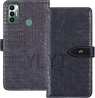 YLYT Shockproof - Gray Flip Leather TPU Silicone Luxury Cover Stand Wallet Case For Tecno Spark 7 6.5 inch Pouch With Card...