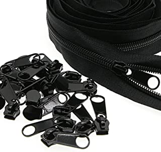Black Nylon Coil #3 Zippers by The Yards Bulk 10 Yards with 25PCS Pulls Sliders for DIY Tailor Sewing Craft,Clothing,Dres...