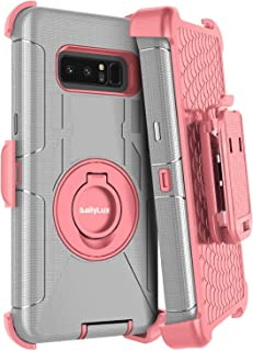 Dailylux Galaxy Note 8 Case,Note 8 Case Belt Clip Heavy Duty Shockproof Swivel Belt Clip Rugged Bumper Hybrid with Kickstand Holster Protective Cover for Samsung Galaxy Note 8-Rose Gold+Grey