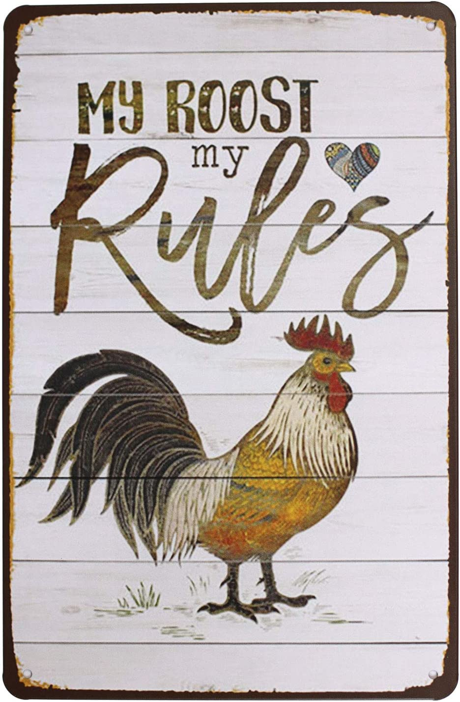 bowzwowz The Nippon regular agency Rooster Vintage Metal At the price of surprise Rural Chicken Sign Tin Retro