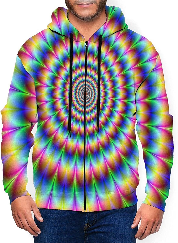 Nashville-Davidson Mall Mens Phoenix Mall Fashion Athletic Hoodies Psychedelic Rainbow Spin Full-Zip