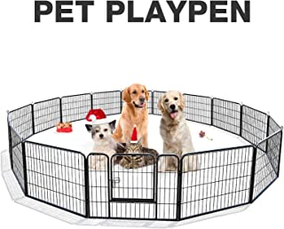SUNCOO Metal Dog Exercise Pen 24 in Height Outdoor& Indoor Pet Playpen Foldable Puppy Cat Rabbit Fence Barrier Heavy Duty Portable Dogs Play Yard Kennel 16 Panels