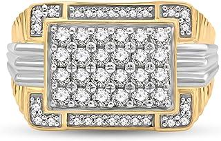 Jewelili 10K Yellow Gold and White Gold 1 Cttw Natural White Round Diamond Mens Ring