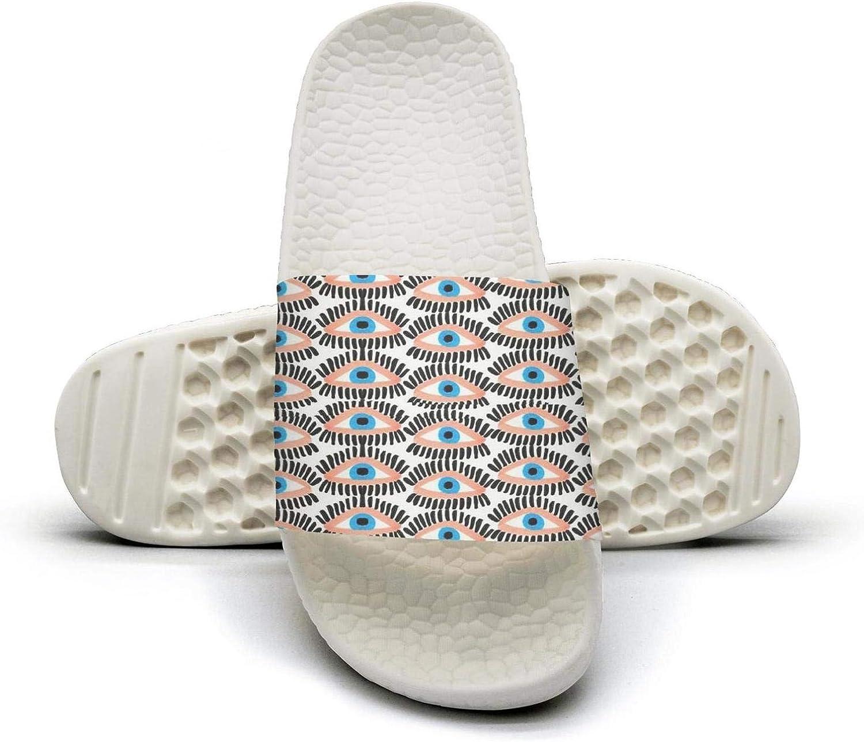 Young Women Eyes Eyelash Artwork Slip on Beach Sandals and Anti-Slip Shower Slipper Comfort Sandals