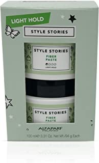 Alfaparf Milano Style Stories Fiber Paste Duo Value Set - Light Hold Hair Styling Paste - Glossy Finish - Texturizing and ...
