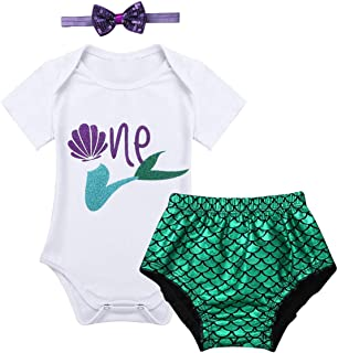 CHICTRY Baby Girls' 1st Birthday Mermaid Outfit Princess Sparkly Ruffles Bloomer+Shirt Top+Headband Set