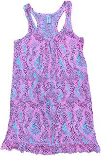 Bay & Willow Womens Pink & Blue Mosaic Polka Dot Tank Top Nightgown Ruffled Sleep Shirt