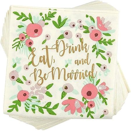Embossed Napkin Cocktail All Occasion Wedding Beverage Floral Bridal Shower