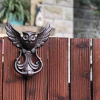 Asas Puerta de estilo antiguo de hierro fundido búho aldaba puerta manijas puerta clásica estilo europeo estilo rú...