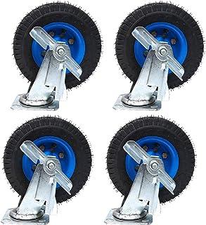 YJJT Rubber Swivel Castor, Opblaasbaar wiel, Met rem en montageplaat, Geschikt voor roterende karren, Vrachtvervoer, Eetau...