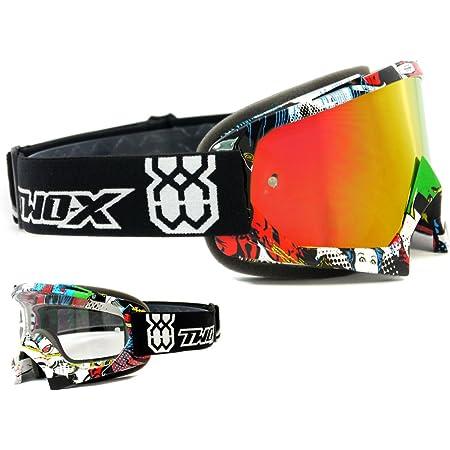 Two X Race Crossbrille Villain Bunt Glas Verspiegelt Iridium Mx Brille Motocross Enduro Spiegelglas Motorradbrille Anti Scratch Mx Schutzbrille Auto