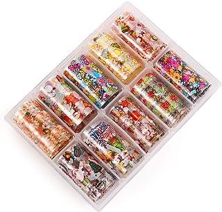 10 pegatinas para uñas de Navidad, pegatinas holográficas de transferencia, para manicura, decoración de cielo estrellado ...