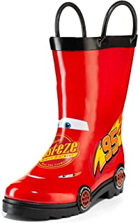 Disney Cars Kids Boys Lightening McQueen Character Printed Waterproof Easy-On Rubber Rain Boots (Toddler/Little Kids)