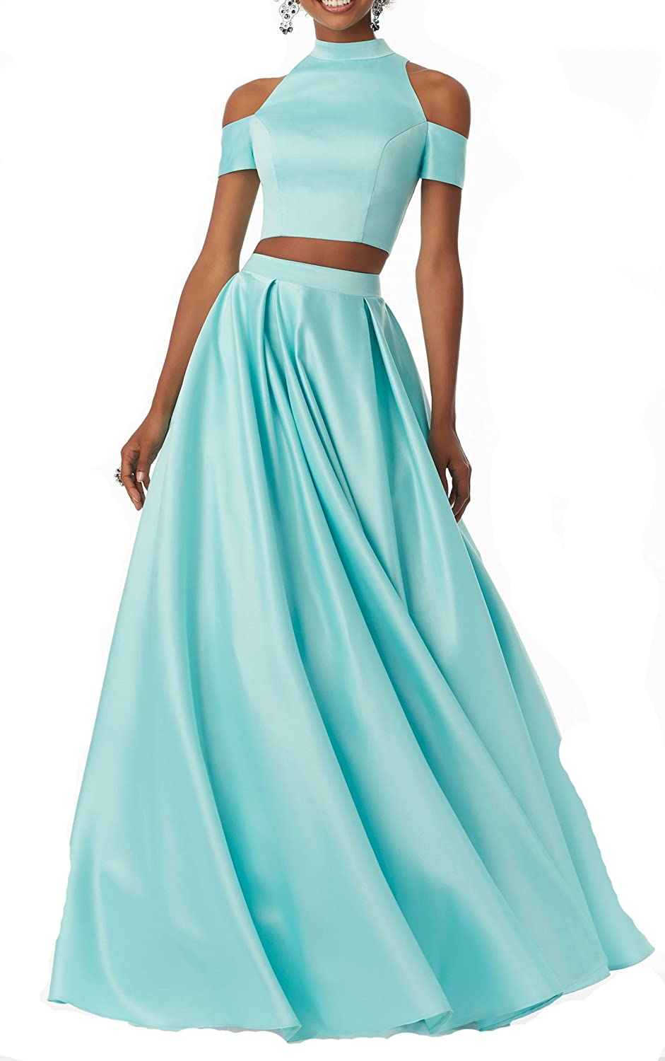 Changjie Women's Two Piece Prom Dresses Pleated Aline Formal Evening Party Gown