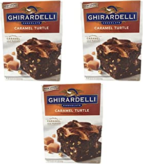 Ghirardelli Chocolate Lovers Caramel Turtle Brownie Mix - Pack of 3, 18.5oz boxes with Caramel and Walnuts